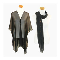 Black Multi-Way Sheer Cover Up Poncho Scarf with Buttons