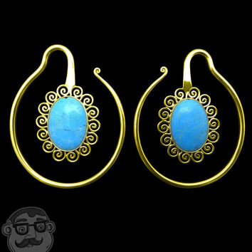 Brass Coil Earrings With Oval Howlite Turquoise Stone Inlay