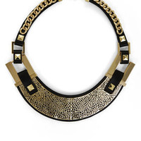 Black BCBG Faux-Leather Filigree-Plate Necklace