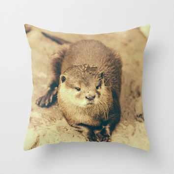 Cute Otter Throw Pillow by Pati Designs