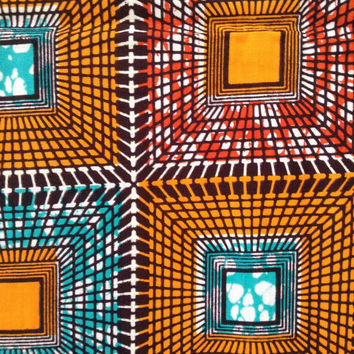African fabric, Orange, Red, Blue Wax print, African print, African material, African fabric, 100% cotton