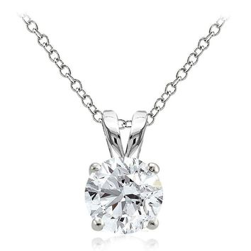 925 Sterling Silver 2ct Cubic Zirconia 8mm Round Solitaire Necklace