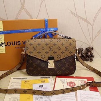 LV Louis Vuitton Women Shopping Leather Satchel Shoulder Bag Handbag Crossbody