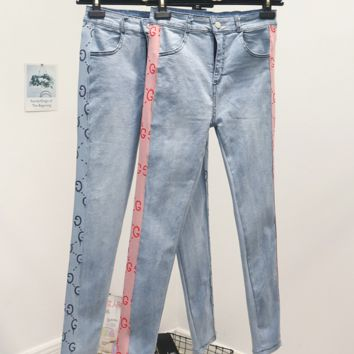 GUCCI New summer patch jeans slim high waist woman side more letter print jeans back pocket print pants two color Pink blue
