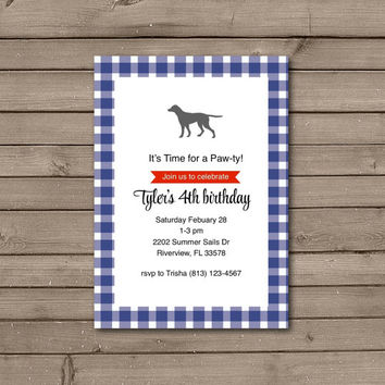 Puppy Gingham Blue and Red Birthday Party Invitations for Boys