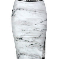 SHADE MARBLE MIDI SKIRT WITH SIDE SLIT - WHITE