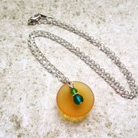 Cultured Sea Glass Necklace with Yellow and Blue Eco Friendly Recycled Glass, Beachy Jewelry
