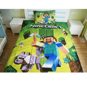 Home Textile Minecraft Bedding Set Cartoon Polyester Bed Linen for Children Boys Gift Duvet Cover Flat Sheet Pillowcases