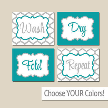 LAUNDRY Wall Art, CANVAS or Prints Turquoise Gray, Wash Dry Fold Repeat, Laundry Room RULES, Choose Colors, Set of 4 Quatrefoil Home Decor