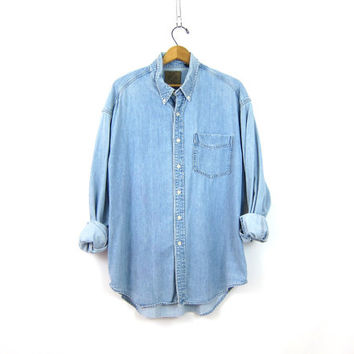 Worn In GAP Jean Shirt Denim Button Up Pocket shirt Men's Hipster Denim Cotton Shirt Button Down Top Unisex Coed Size Large