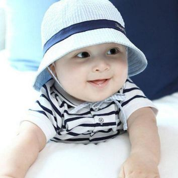 LMF78W Kids Baby Unisex Boys Girls Bucket Hats Infant Toddler Striped Sun Beach Caps 6-24M