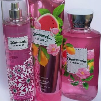 3 SET Bath & Body Works WATERMELON LEMONADE Body Cream / Mist / Shower Gel