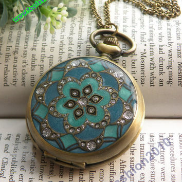 Retro copper round with blue color star flower by toofashion2010