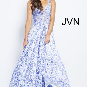 JVN by Jovani JVN50050 Beautiful Lace Ball Gown with Sheer Bodice