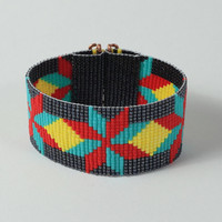 Native American Style Dakota Star Bead Loom Cuff Bracelet - Tribal - Southwestern - Boho - Bohemian - Black Red Bright - Artisanal Jewelry