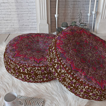 Aimee St Hill Farah Red Floor Pillow Round