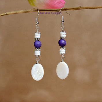 Purple magnesite earrings, Mother of pearl earrings, Long dangle earrings, purple earrings, Purple ivory earrings, Ivory earrings, Magnesite