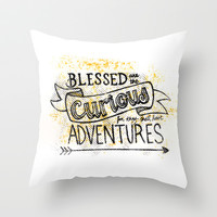 Blessed are the Curious Throw Pillow by Katie Dobson