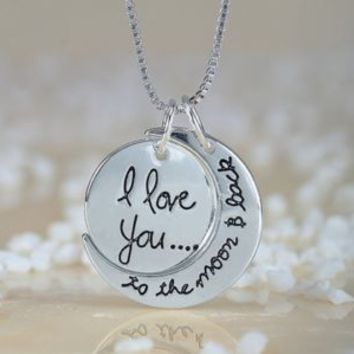 I love you to the Moon and Back Pendant Necklace - 60cm, Alloy, Zinc/Alloy