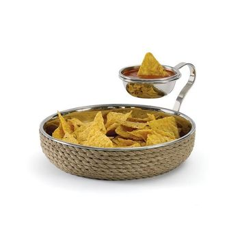 Coastal Chip & Dip Bowl Brass Rope