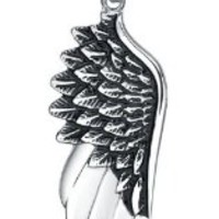 Stainless Steel Angel Wing Pendant Necklace with 3.5mm Round Link Chain - g2034d