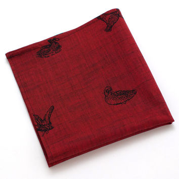 1940s Crimson Duck Pocket Square