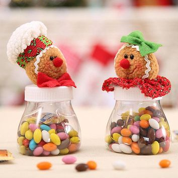 Hot Cute Christmas Candy Storage Box Jar Bottle Gingerbread Man Xmas Home Organization Decoration Sugar Bottles Case Decor