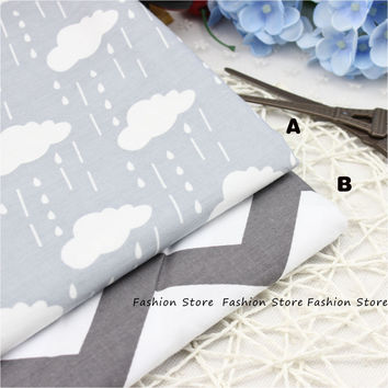 40*50cm Gray Raindrops Printed Cotton Fabric for Home Textile Baby quilts Cushions Sewing Fabric Material Telas to Patchwork