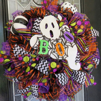 Halloween Wreath, Halloween Decoration, Halloween Party, Ghost, Large Wreath, Front Door Wreaths, Door Hanger