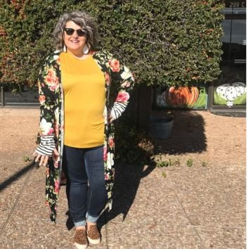 Floral and Stripped Duster