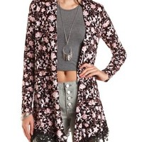 Floral Print Lace-Trim Cardigan by Charlotte Russe