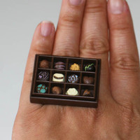 Kawaii Miniature Food Ring - A Box of Chocolates for the Chocolate Lovers