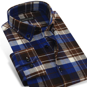 Men's Plaid & Checked Pattern Brushed Flannel Shirt Spring Autumn Long Sleeve Slim Fit Casual Button-down Shirts