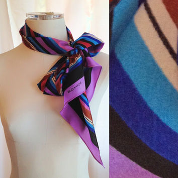 Vintage Striped Thin Scarf. Headscarf. Purple. Blue. Pink. 1980s. Silk. Accessory. Colorful. Narrow Scarf. Summer. Spring.