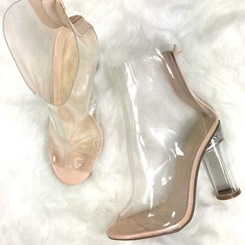 SZ 11 Hot Crush Lucite Booties