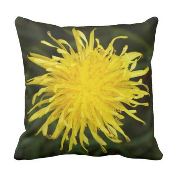 Yellow Dandelion Wildflower Garden Throw Pillow