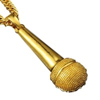 Elegant Crystal Microphone Necklace