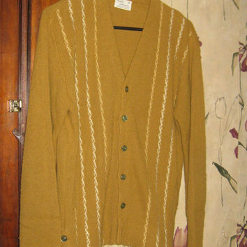 vtg 1960s mens skinny Sweater cardigan Grandpa button Orlon SEARS sportswear   sz med