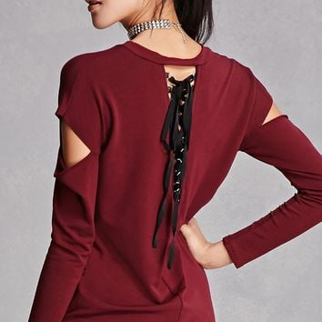 Lace-Up Cutout Longline Top