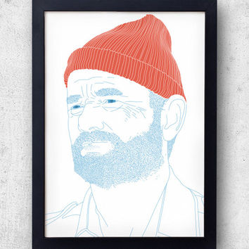 Steve Zissou Print, The Life Aquatic Wes Anderson  Bill Murray, Owen Wilson,
