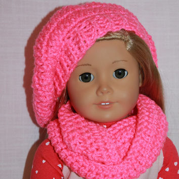 18 inch doll clothes, bright pink beret style crochet slouch hat with infinity scarf, Upbeat Petites