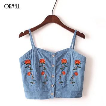 ORMELL Female Fashion Embroidery Denim Tank Top Lady Girls Summer Sexy Crop Tops Women 2017 Blue Jean Slim Backless Camisole