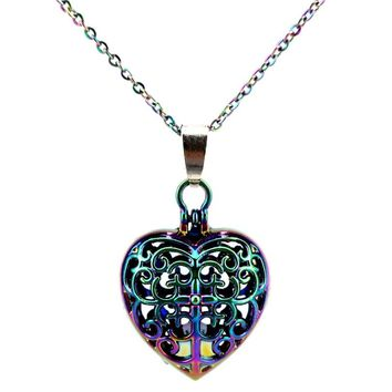 C787 Rainbow Color Lovely Heart Cross Beads Cage Pendant Locket Necklace Aroma Essential Oil Diffuser