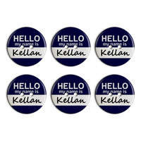 Kellan Hello My Name Is Plastic Resin Button Set of 6