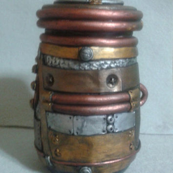 Steampunk stash jar, industrial look polymer clay over glass container