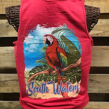 Backwoods South Waters Island Parrot Bird Bright Comfort Colors Unisex T Shirt Tank Top