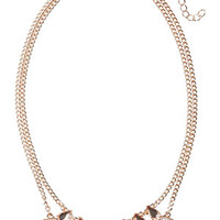 Layered Rhinestone Necklace - Rose Gold