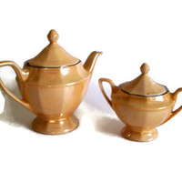 Vintage Lustreware Porcelain Footed Teapot and Sugar Bowl Bavaria Zeh Scherzer Z, S and C