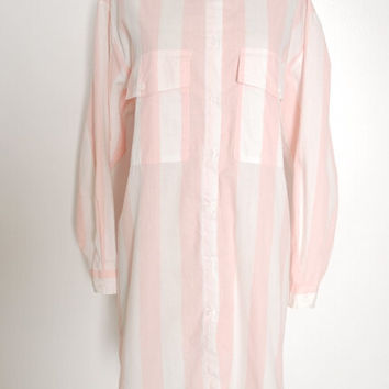 vintage 80s dress, 80s shirt dress, striped dress, pink white striped, over sized dress, 80s mini dress, 80s clothing, 80s 1980s