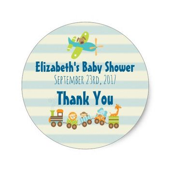 Animal Toy Train and Airplane Baby Shower Thanks Classic Round Sticker